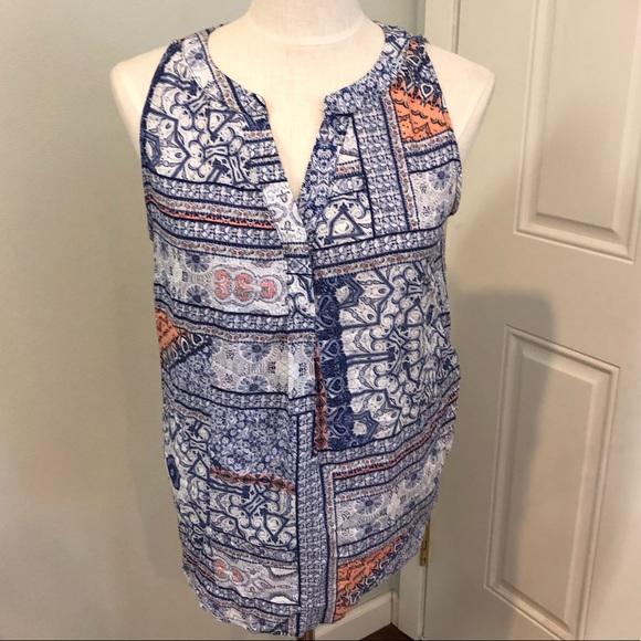 f0bc9dd2376 Artisan Ny Tops - Blue coral scarf print boho tank top blouse